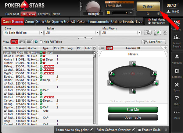 PokerStars deposit